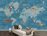 Xu hướng in decal dán tường hình bản đồ thế giới trang trí phòng bé yêu