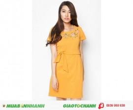 Đầm công sở phối màu đính nơ thời trang